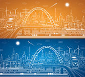 Vector lines train on the bridge, train on the background of the light city and plane fly, vector infrastructure panorama — Stock Vector