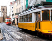 short and quick trams in lisboa — Stock Photo