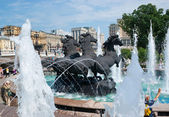 The fountain with horses — Stock Photo