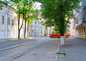 The red tram — Stockfoto