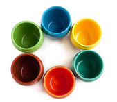 Color cups placed in circle — Stock Photo