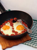 Two fried eggs for breakfast — Stock Photo