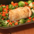 Stuffed chicken breast roll with vegetables — Stock Photo