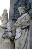 Statue(Jaume Ferrer de Blanes) located at the Columbus statue in — Stock Photo