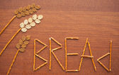 Wheatear made from bread with letters — Stock Photo