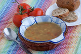 Italian vegetarian lentil soup — Stock Photo