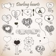 Set of stylized hand drawn hearts — Stock Vector #21730259