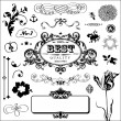 Floral elements and frames set - Stock Vector