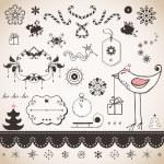 Vintage Christmas set — Stock Vector