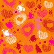 Orange texture with drawn splashes and hearts — Stock Vector