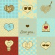 Stylish set of nine hand drawn hearts — Stock Vector