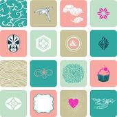 Set de texturas y marcos — Vector de stock