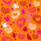Orange texture with drawn splashes and hearts — Stok Vektör