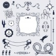 Nautical set with elements for Your design — Stock Vector