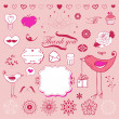 Lovely romantic set for your design — Stock Vector