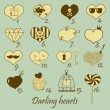 Set of stylized hand drawn hearts — Imagen vectorial