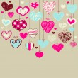 Romantic card with stylized hearts — Stock Vector