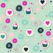 Seamless romantic pattern Cute texture background — Imagen vectorial