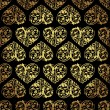 Stock Vector: Elegant black golden seamless pattern