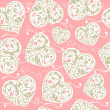 Laced seamless pattern with hearts — Imagen vectorial