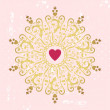 Circle sweet ornament with heart — Imagen vectorial