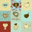 Stylish set of nine hand drawn hearts — Stock Vector #21972761
