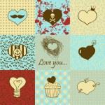 Stylish set of nine hand drawn hearts — Stock Vector