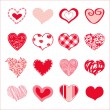 Set of hand drawn hearts — Stock Vector