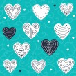 Set of hand drawn hearts — Imagen vectorial