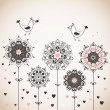 Lovely card with stylized flowers — Stockvectorbeeld