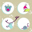 Funny Christmas animals — Stock Vector