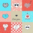 Stylish set of nine hand drawn hearts — Imagen vectorial