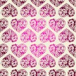 Elegant laced seamless pattern with hearts — Imagen vectorial