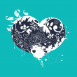 Decorative floral heart — Imagen vectorial