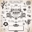 Vector set with vintage elements — Stock Vector