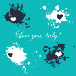 Romantic card with splashes — Stock Vector
