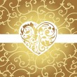 Elegant card with golden heart shape - Stock Vector