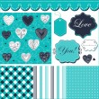 Cute pattern, frames and cute romantic backgrounds — Imagen vectorial