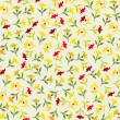 Seamless colorful floral pattern Flowers texture — Stock Vector