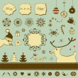Vintage Christmas set with funny animals — Stock Vector