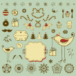 Vintage Christmas set with funny animals — Imagen vectorial