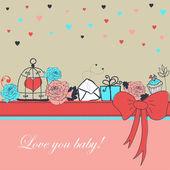Card - Love you baby — Stock Vector