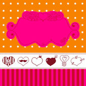 Lovely drawn card with darling hearts — Stockvector
