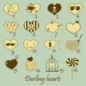 Set of stylized hand drawn hearts — Stock Vector