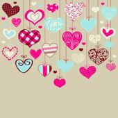 Cartão romântico com corações estilizadas — Vetor de Stock