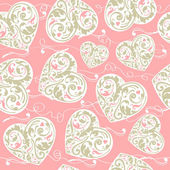 Laced seamless pattern with hearts — Stock Vector