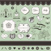 Lovely romantic set — Stock Vector