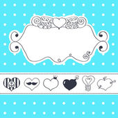 Lovely drawn card with darling hearts — Stock Vector