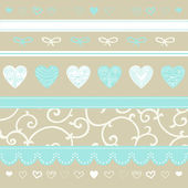 Romantic pattern with hand drawn hearts — Stock Vector