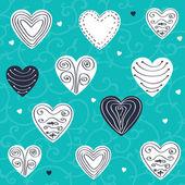 Uppsättning hand dras hjärtan — Stockvektor